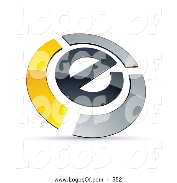 Logo Vector of a Shiny E Circled by Chrome and Yellow Bars