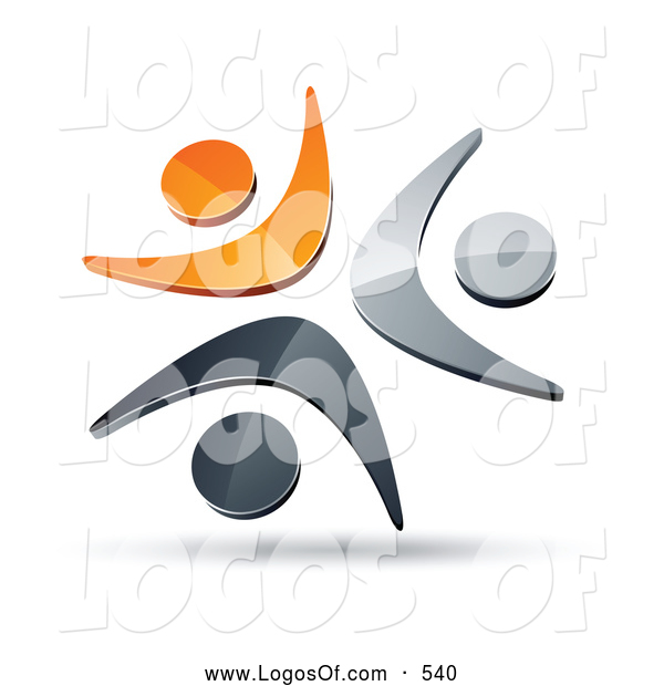Logo Vector of a Shiny Pre-Made Logo of Three Orange, Chrome and Black People Celebrating or Dancing