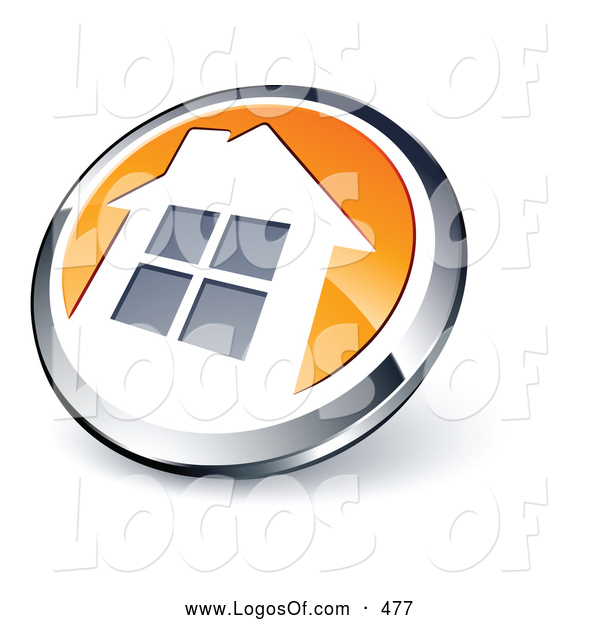 Logo Vector of a Shiny Round Chrome and Orange Home Button Icon