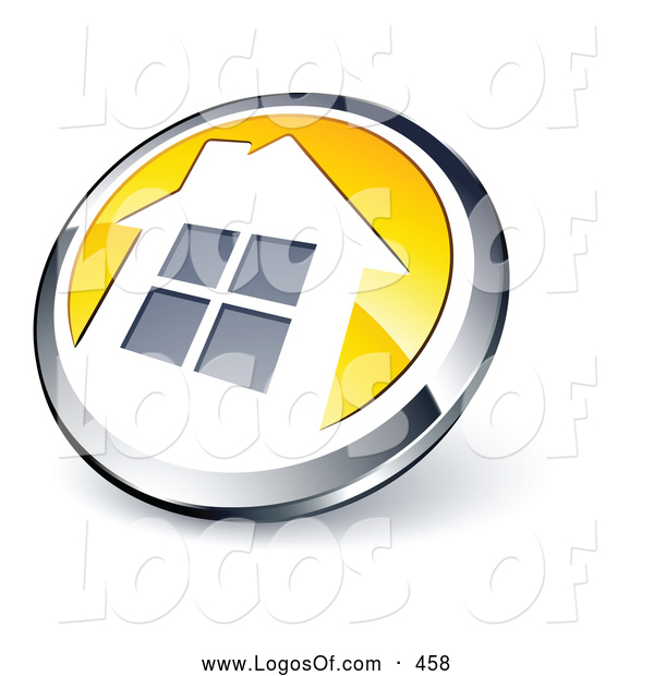 Logo Vector of a Shiny Round Chrome and Yellow Home Button on White
