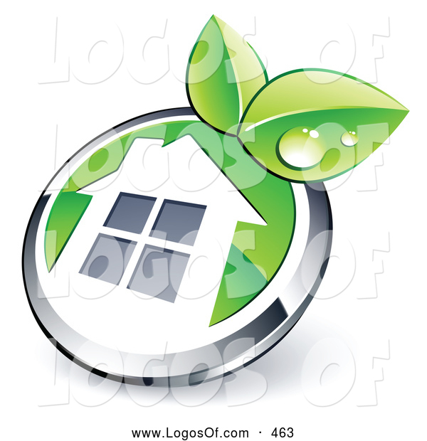 Logo Vector of a Shiny Round Silver and Green Home Button with Leaves