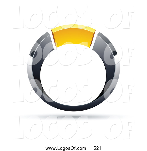Logo Vector of a Silver and Chrome and Yellow Ring