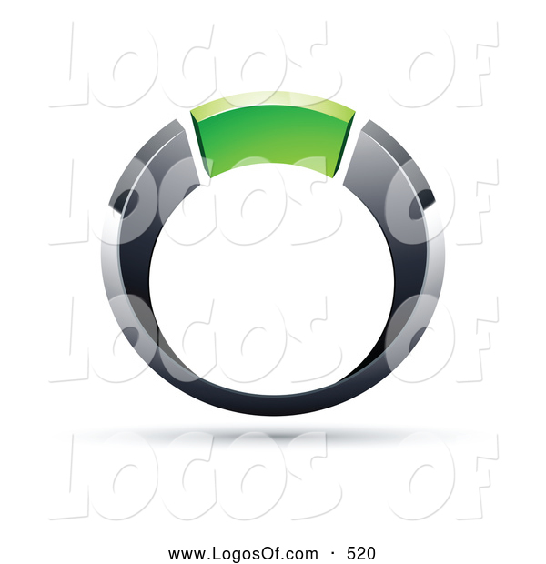 Logo Vector of a Silver or Chrome and Green Ring