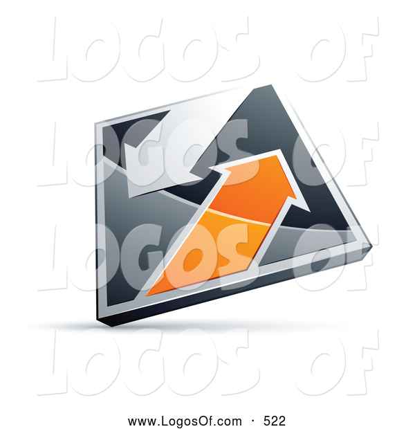 Logo Vector of a Silver or Chrome and Orange Diamond with Arrows