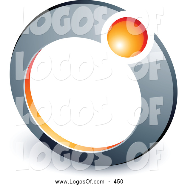 Logo Vector of a Small Orange Ball in a Chrome Ring, Above Space for a Business Name and Company Slogan
