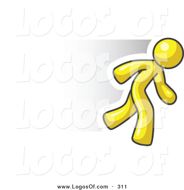 Logo Vector of a Speedy Yellow Business Man Running Quick