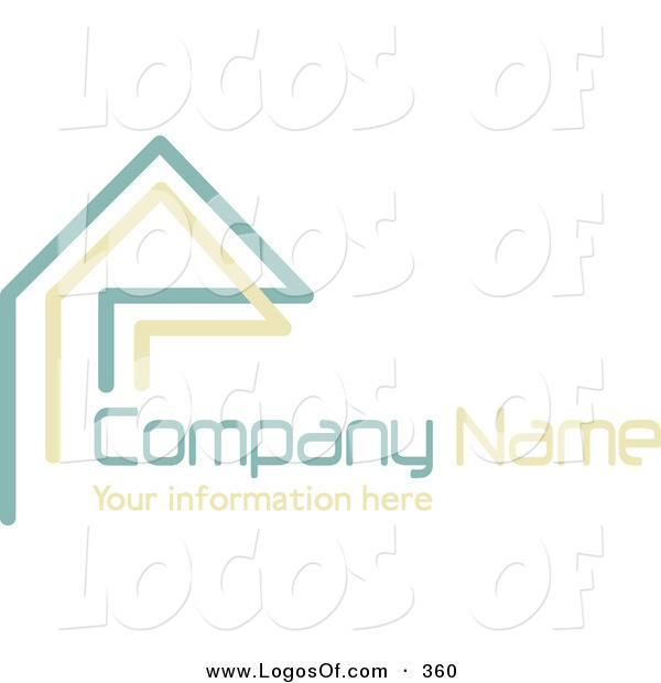 Logo Vector of a Stock Company Logo of Teal and Beige Lines Resembling a Home or Roof, Above Space for a Company Name and Information