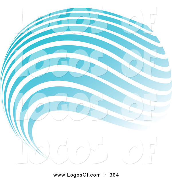Logo Vector of a Stock Logo of a Globe of Blue and White Horizontal Waves Above a Space for a Company Name and Information on a White Background