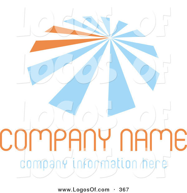 Logo Vector of a Stock Logo of Blue and Orange Lines Resembling an Umbrella, over Space for a Company Name and Information on a White Background