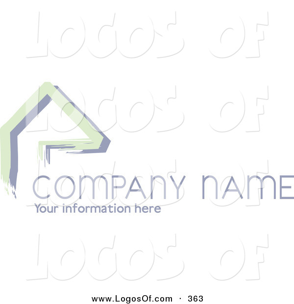 Logo Vector of a Stock Logo of Green Lines Resembling a Home or Roof, Above Space for a Company Name and Information on a White Background