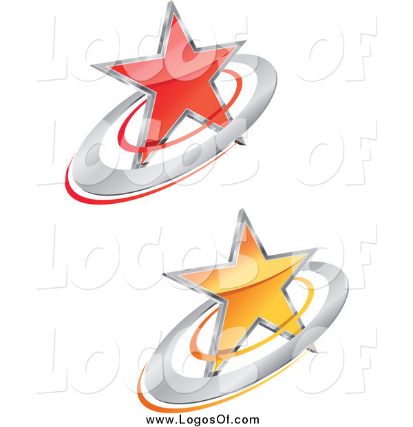 Vector Clipart of 3d Red and Yellow Star and Ring Logos