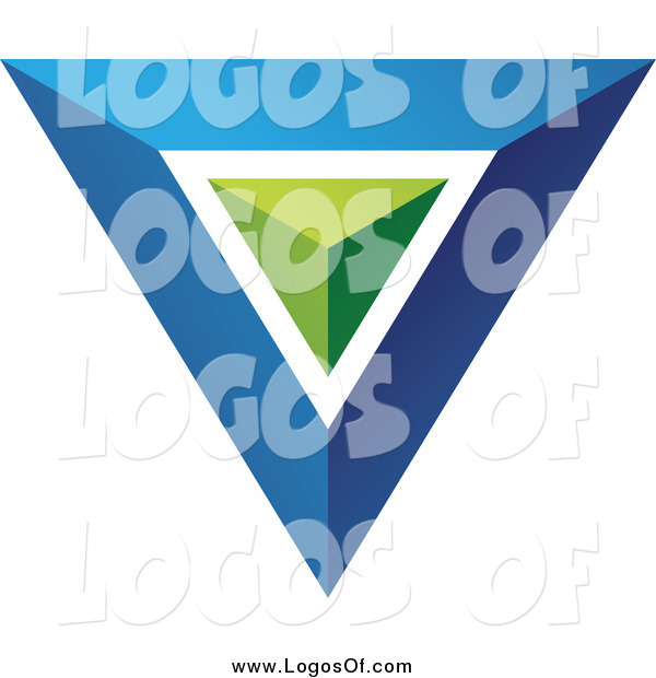 Vector Clipart of a 3d Blue and Green Triangle or Pyramid Logo