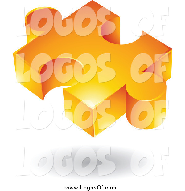 Vector Clipart of a 3d Floating Orange Puzzle Piece Logo