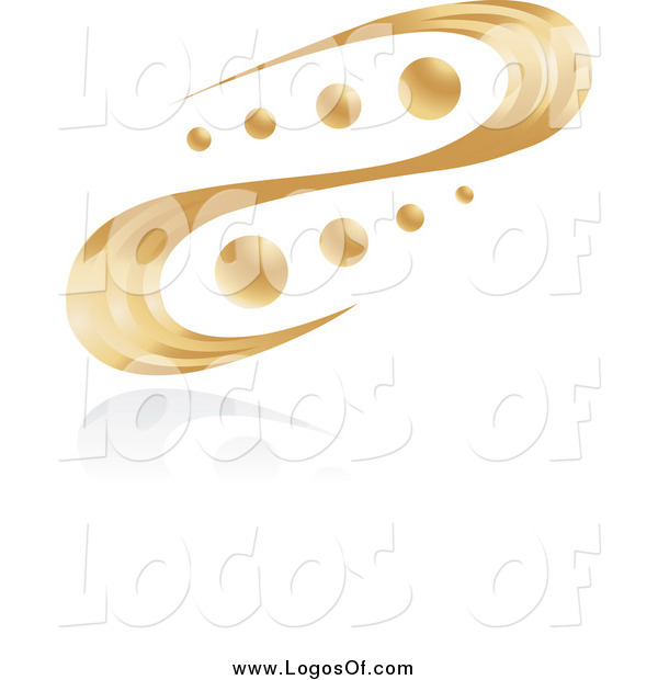 Vector Clipart of a Abstract Golden Swirl and Orbs Logo