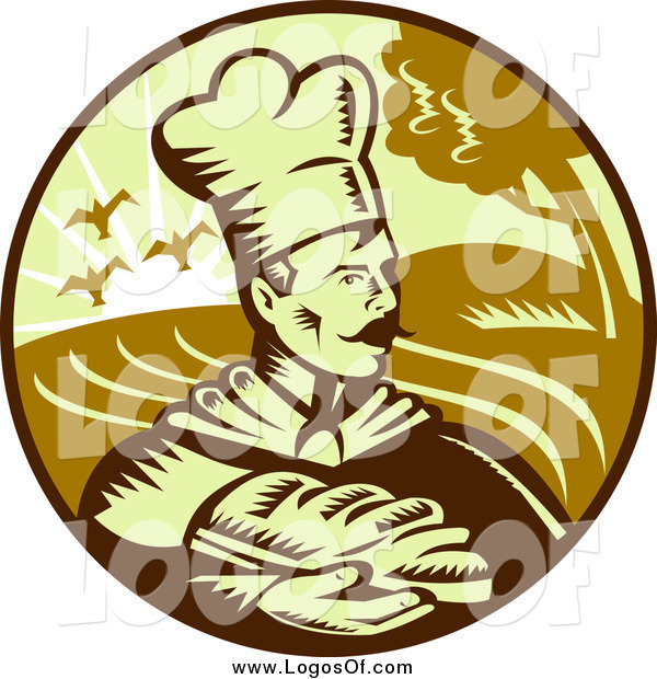 Vector Clipart of a Baker and Bread Logo
