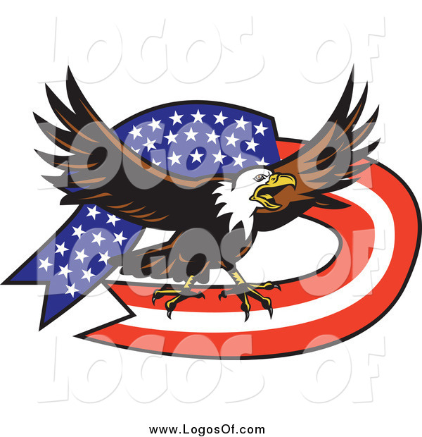 Vector Clipart of a Bald Eagle and American Flag Ribbon Banner