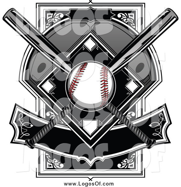 Vector Clipart of a Baseball and Diamond with Crossed Bats and Banner Logo