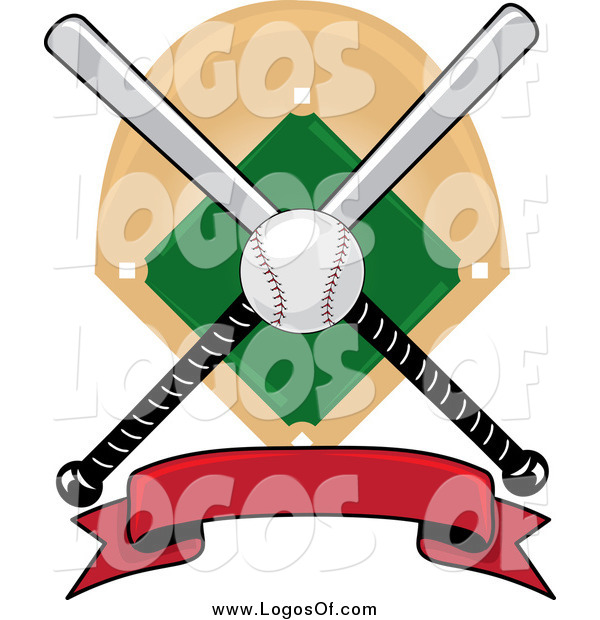 Vector Clipart of a Baseball Bat Red Banner Field and Ball Logo