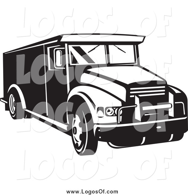 Vector Clipart of a Black and White Armored Bank Car Logo