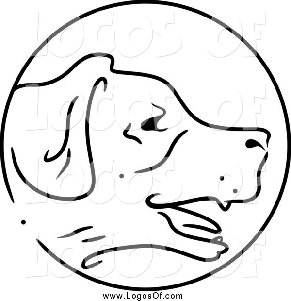 Vector Clipart of a Black and White Chinese Zodiac Circle Dog Logo