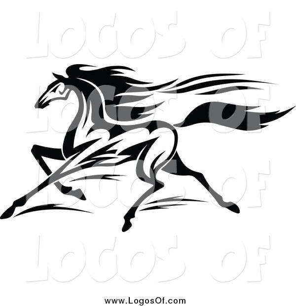 Vector Clipart of a Black and White Horse Running Logo