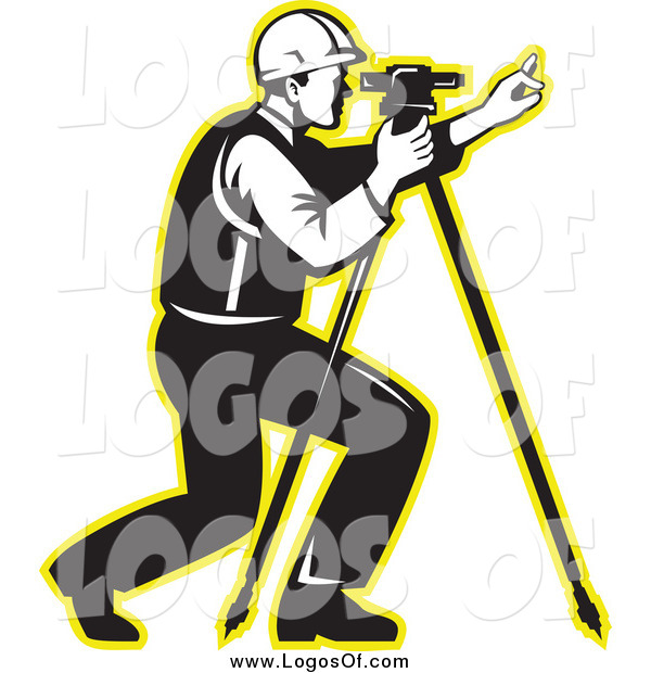 Vector Clipart of a Black and White Surveyor with a Theodolite and a Yellow Outline Logo
