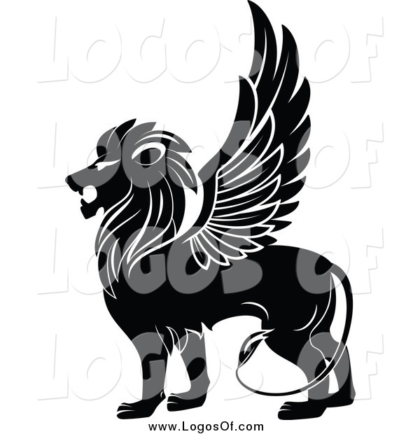 Vector Clipart of a Black and White Winged Lion in Profile Logo