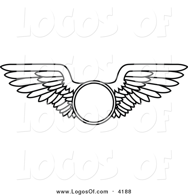 Vector Clipart of a Black and White Wings with a Circle Logo