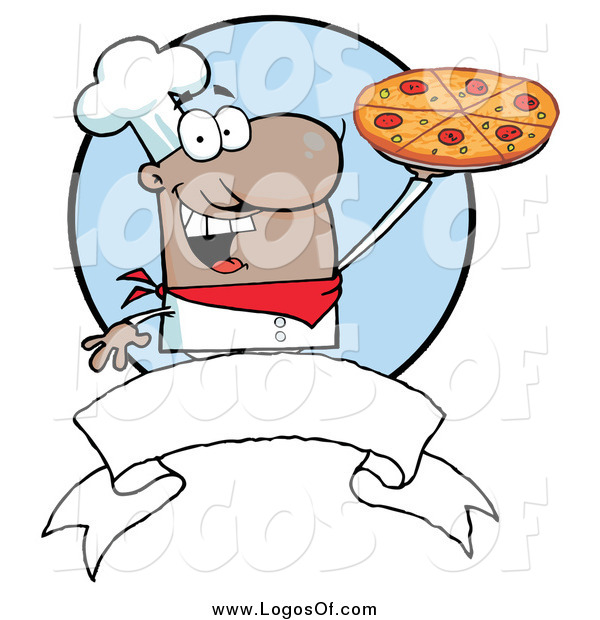 Vector Clipart of a Black Male Chef Holding a Pizza Logo