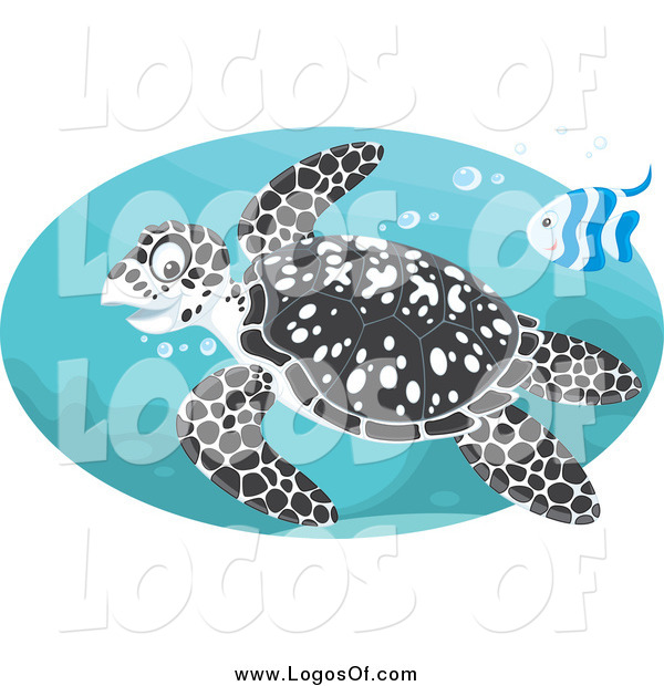 Vector Clipart of a Black Spotted Sea Turtle and Fish Swimming in an Oval