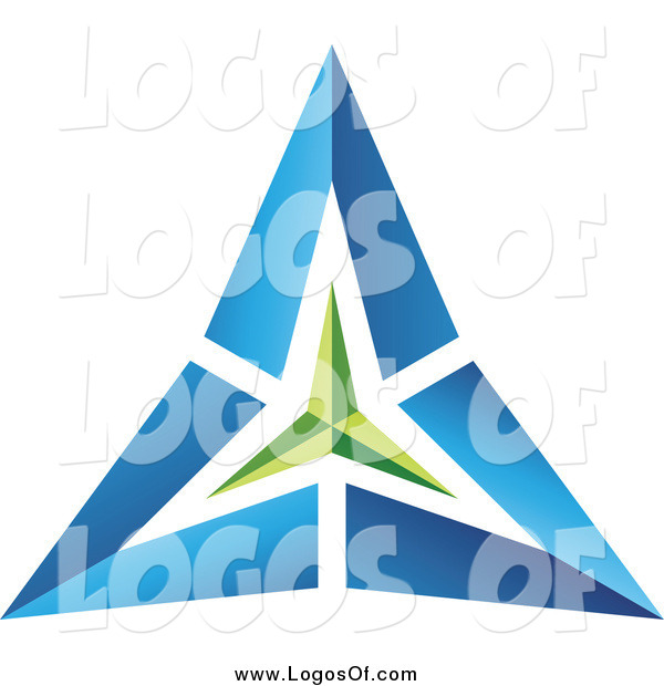 Vector Clipart of a Blue and Green Pyramid Triangle Logo