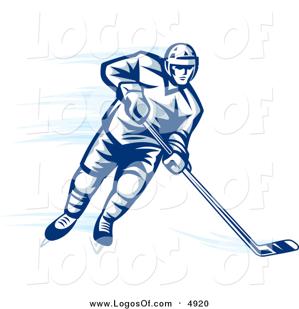 Vector Clipart of a Blue Ice Hockey Player