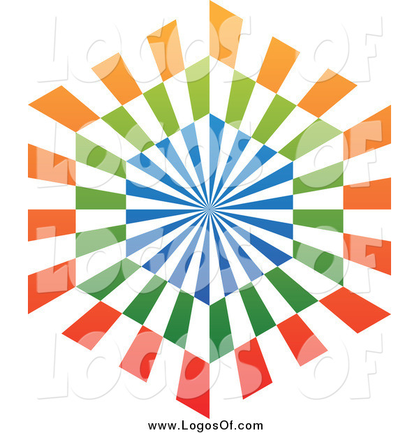 Vector Clipart of a Blue, Orange and Green Hexagon Logo