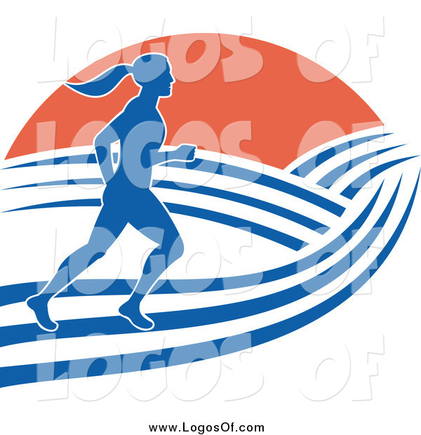 Vector Clipart of a Blue Silhouetted Female Marathon Runner with Hills and Sunrise Logo