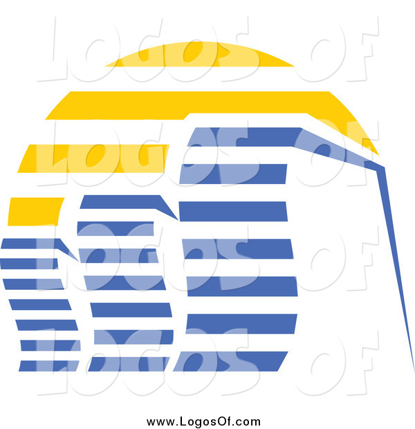Vector Clipart of a Blue Skyscraper and Sunset Logo