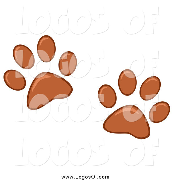 Vector Clipart of a Brown Dog Paw Prints Pet Sitting Logo