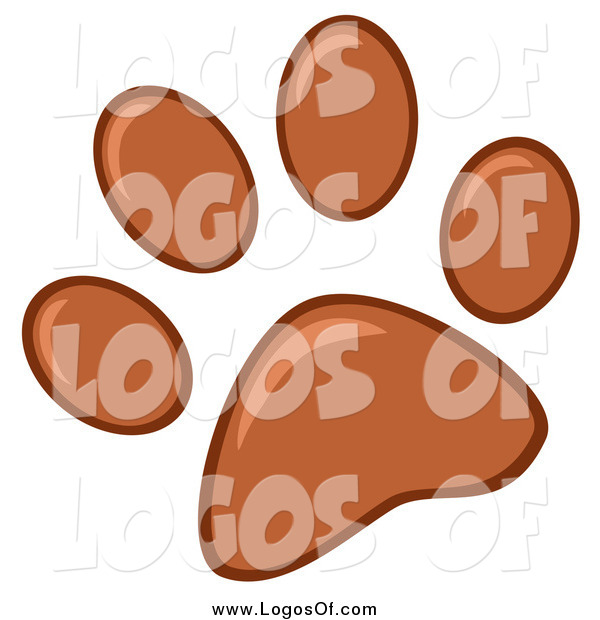 Vector Clipart of a Brown Paw Print Logo
