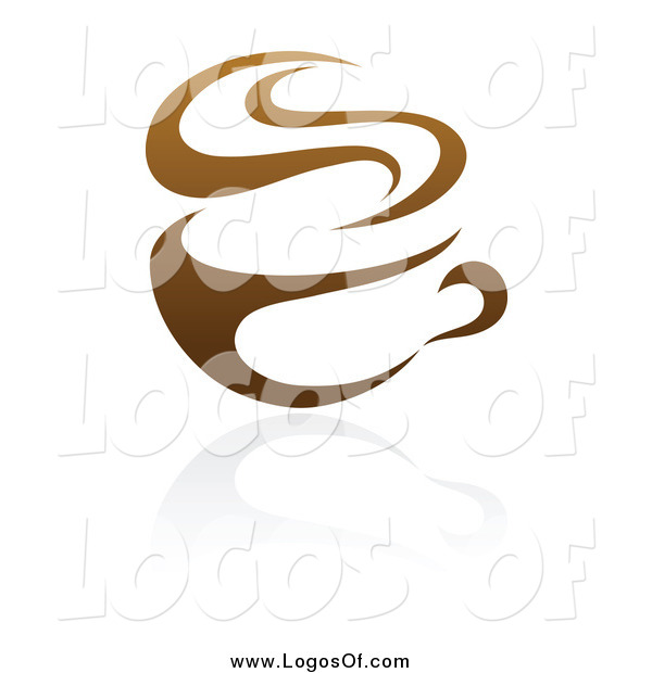 Vector Clipart of a Brown Steamy Coffee Cup Logo