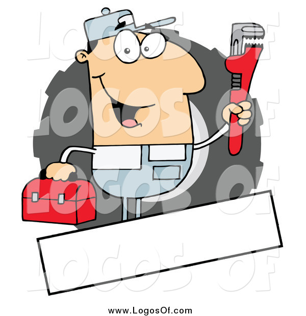 Vector Clipart of a Caucasian Auto Mechanic and Copy Space Logo