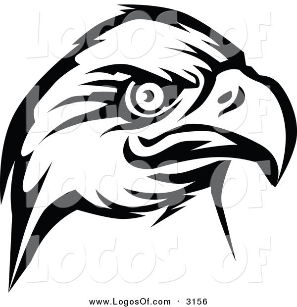 Vector Clipart of a Eagle Head Logo in BW