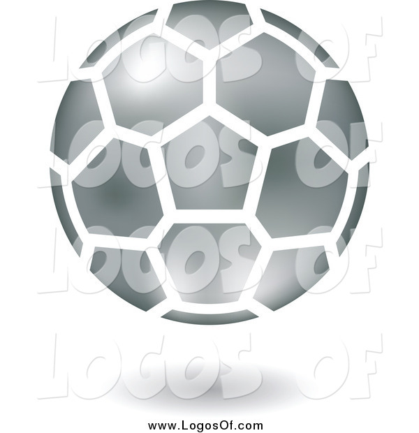 Vector Clipart of a Floating Silver Soccer Ball Logo