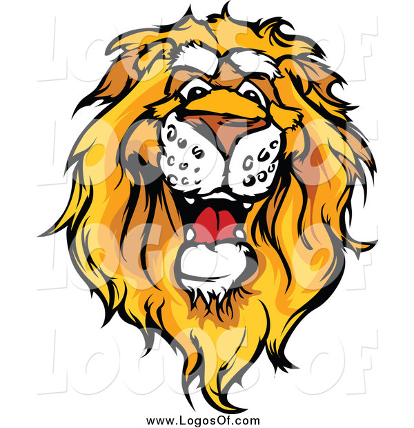 Vector Clipart of a Friendly African Lion Head Logo