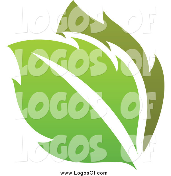 Vector Clipart of a Gradient Green Leaves Eco Logo