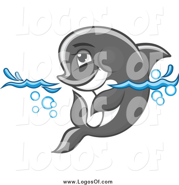 Vector Clipart of a Gray Dolphin Wading in Water
