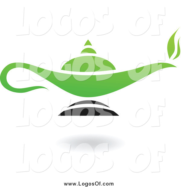 Vector Clipart of a Green and Black Lamp Logo