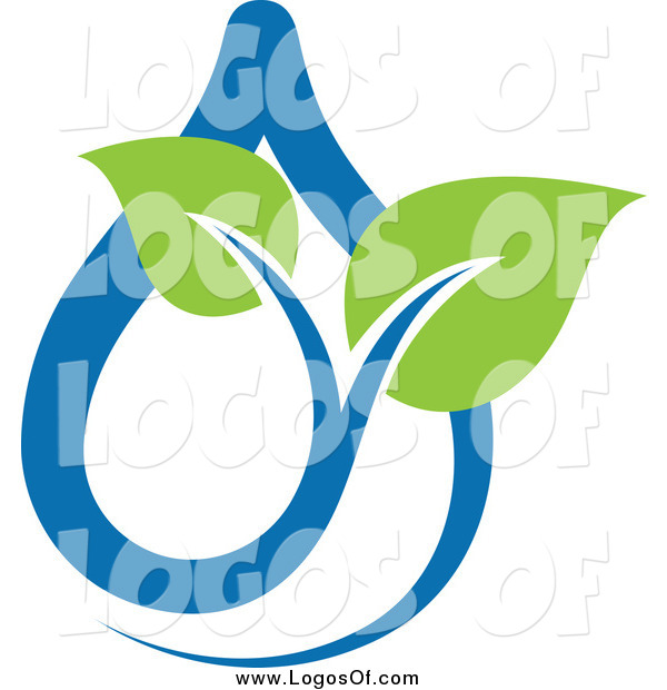 Vector Clipart of a Green and Blue Ecology Waterdrop and Leaves Logo