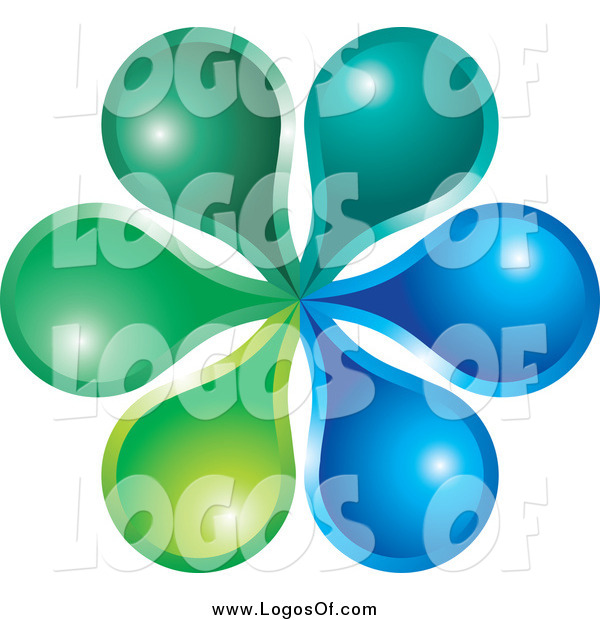 Vector Clipart of a Green and Blue Flower Logo