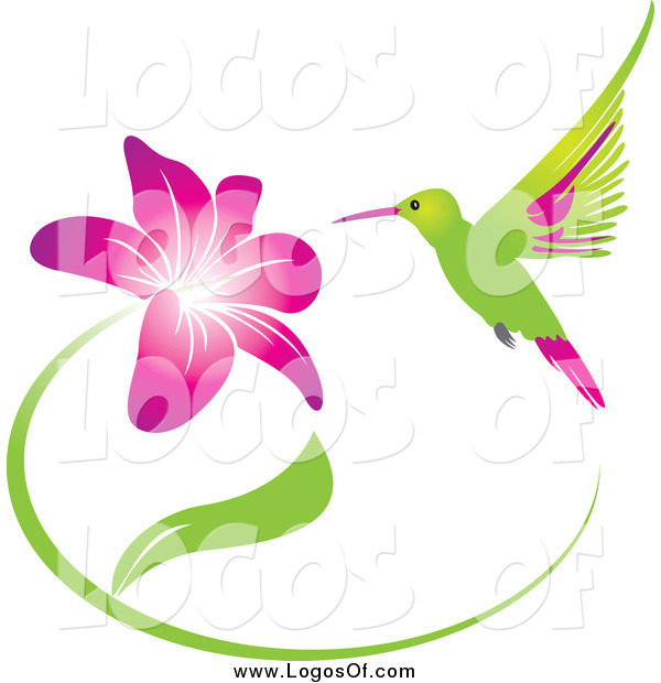 Vector Clipart of a Green and Pink Hummingbird and Purple Flower Logo