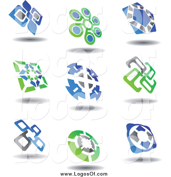 Vector Clipart of a Green, Blue and Gray Logos