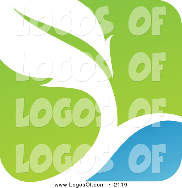 Vector Clipart of a Green, Blue and White Botanical Logo